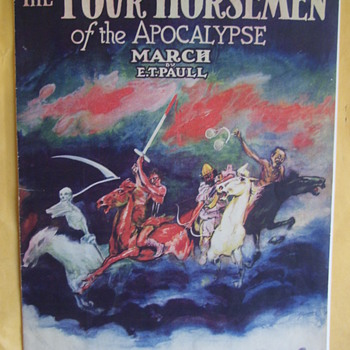 "Vibrant Sheet Music With Scary Cover, ""Four Horsemen Of The Apocalypse"" Issued by E.T. Paull (WW1 Era) - Music Memorabilia"