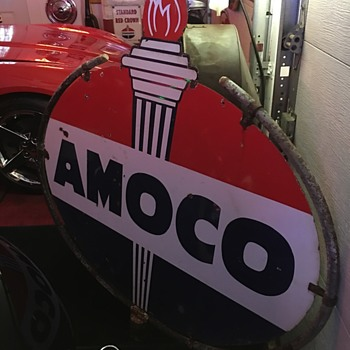 """AMOCO""  48"" double-sided porcelain sign  - Signs"