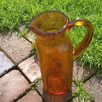 1960s? 1970s? Last Month? Amber Glass Jug Thrift Shop Find $1.00 - Art Glass