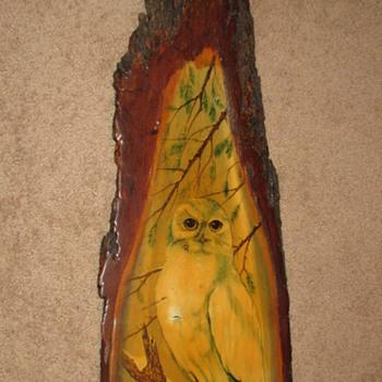 Painting of Owl on Bark of Tree