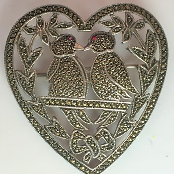 1940s Sterling Marcasite Heart & Love Birds Brooch - Happy Valentines Day ! - Fine Jewelry
