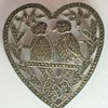 1940s Sterling Marcasite Heart & Love Birds Brooch - Happy Valentines Day !