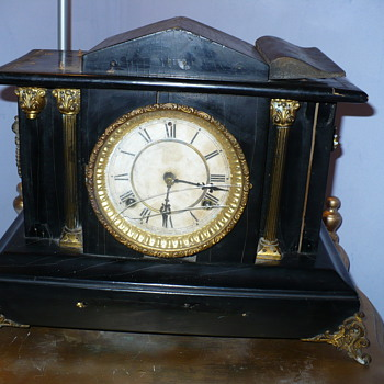 Real Old  Mantle Clock Was being thrown at the dump!!!wow cool rough shape clock doesnt work though - Clocks