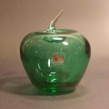 "Blenko Glass Apple - Antique Green - 5"" - Art Glass"