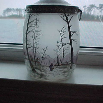 Glass Biscuit Jar with Overlay Paint - Art Glass