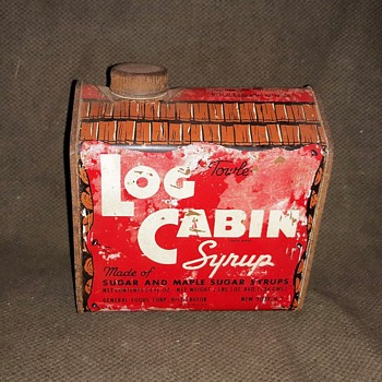 Towle's Log Cabin Syrup Tin 1940s - Advertising