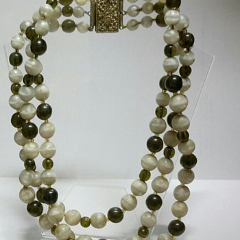 Agate and Glass Bead 3 Strand Necklace - Costume Jewelry