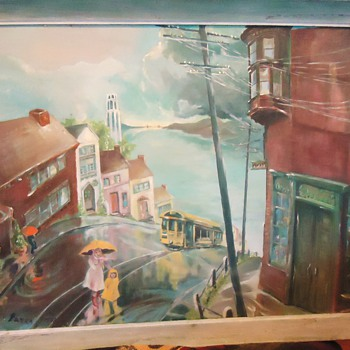 """OIL Painting San Francisco 1963   31"""" X 25"""" With Coit tower! fire nozzel"""