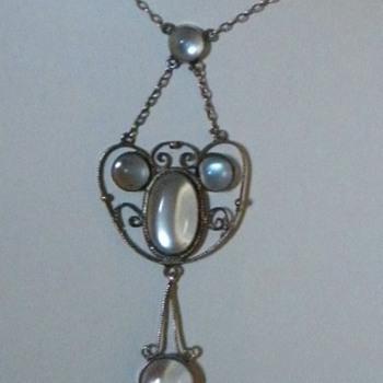 Antique Victorian Moonstone Silver Lavaliere Pendant Necklace England - Victorian Era