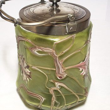 PALLME-KONÏG  ART NOUVEAU GLASS & SILVER PLATE BISCUIT BARREL c1890s - Art Glass