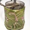 PALLME-KONÏG  ART NOUVEAU GLASS & SILVER PLATE BISCUIT BARREL c1890s