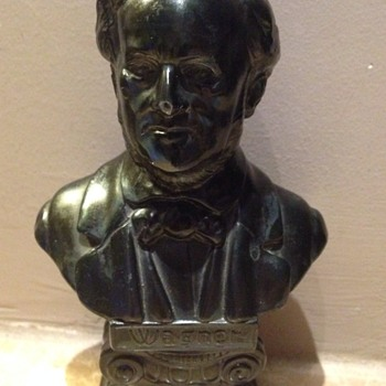 Wagner bronze bust signed by L Piedboeuf - Music Memorabilia