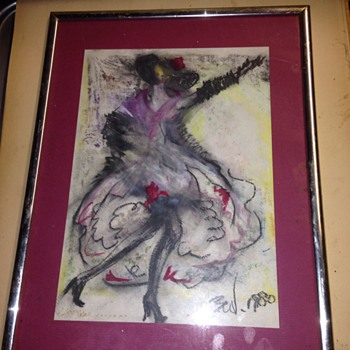 Chalk drawing dancing lady, by Ben ?  - Fine Art