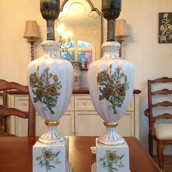 Found Pair of 1920s Porclain Table lamps