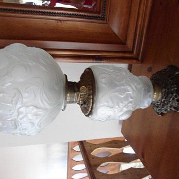 """What is this? I have this beautiful oil lamp with frosted glass and peaches/vines. Stamped """"Made in US of America"""" on oil switc"""