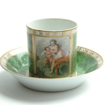 "rare antique french porcelain cup "" tasse litron"" from the 18th century  probably by Schœlcher - Pottery"
