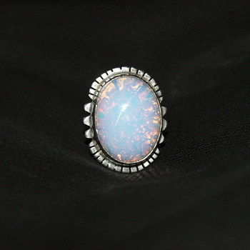 Mexican Sterling and Foiled Glass Ring - Fine Jewelry