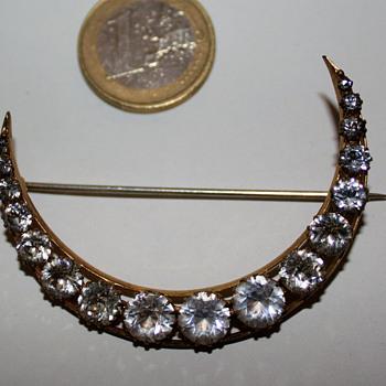 Antique half-moon brooch - Costume Jewelry
