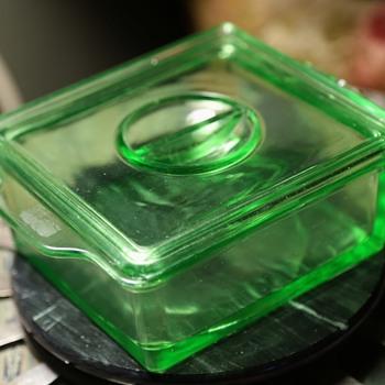 Green Depression Glass Refrigerator Dish - Hazel Atlas - Glassware