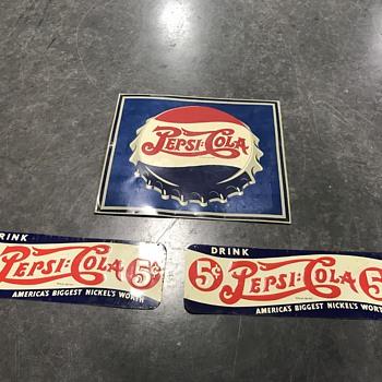 Three Original Pepsi signs double dot 1940's  - Advertising
