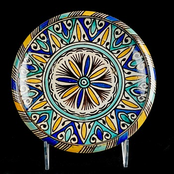 Set of 4 Hand Painted Plates - Moroccan? - Pottery