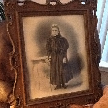 Carved Wooden old frame w a girl - Photographs