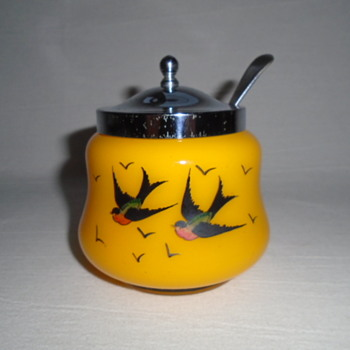 Czech Art Deco Tango Glass Jam Pot/Sugar Bowl - Art Glass