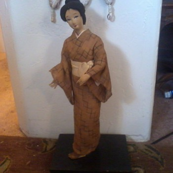 """Japanese Geisha Doll,17"""", Cloth and Canvas, humble, perhaps old or wartime? - Asian"""