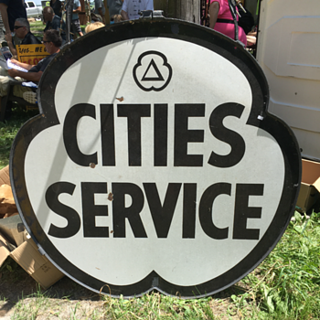 "Cities Service 48"" double-sided porcelain sign in the original frame  - Signs"
