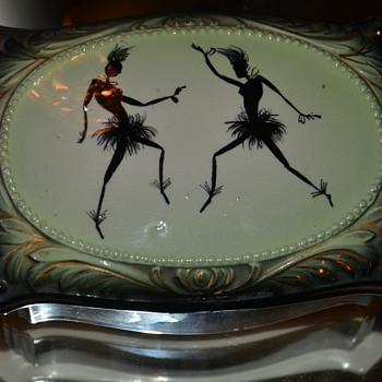 Covered ceramic dish with a wild image of African Dancers on it - Pottery