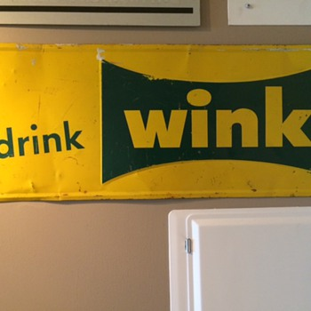 "VINTAGE ""drink wink"" METAL ADVERTISING SIGN"