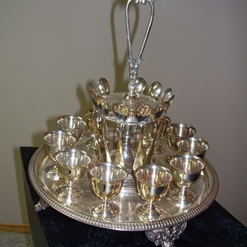 Sterling Silver Tray with Goblets and Spoons - Silver