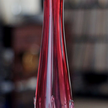 Mystery Deep Cranberry and Clear Petal Rimmed vase with upward Pulls - Japanese? - Art Glass