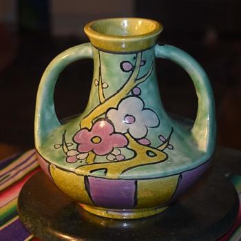 Awaji Vase with Cherry / Plum Blossoms - Asian