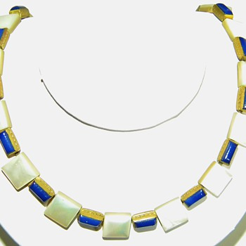 Antique MOP Blue Enamel Egyptian Revival? Etched Brass Choker Necklace - Fine Jewelry