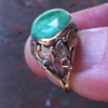 arts and crafts ring, jadeite, two colors gold. Unmarked...