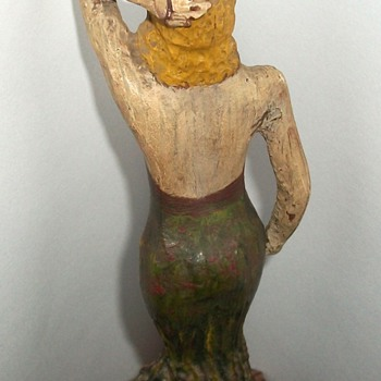 """Wooden Pin Up"" Vintage Folk Art Carved Woman Figure collection Jim Linderman - Folk Art"