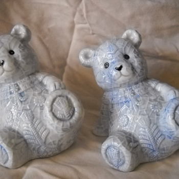 4.25 Inch, Porcelain, Leaning Teddy Bear w/ Decorative Powder Blue Snowflakes. - Pottery