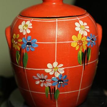 Orange Cookie Jar - Cottage Basketware? - Pottery