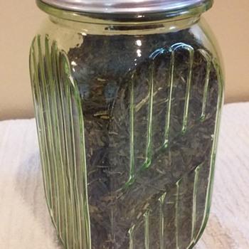 HOCKING GREEN depression glass tea canister - Glassware