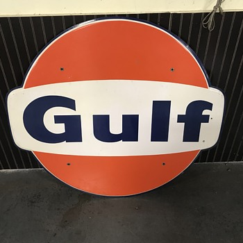 4 ft Gulf  Gas station  sign 1967  - Petroliana