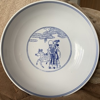 Old Chinese Blue And White Porcelain Immortals/Gods Bowl - Asian