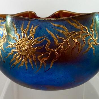 Loetz Braun Silberiris Bowl, DEK 455, st PN II-1052, ca. 1903 - Art Glass