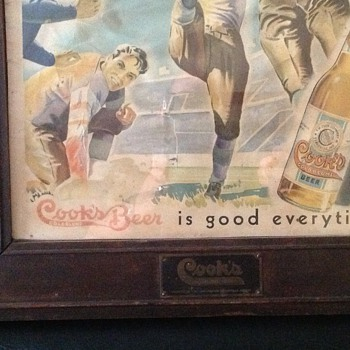 COOKS BEER GOLD BLUME FOOTBALL SIGN  - Breweriana