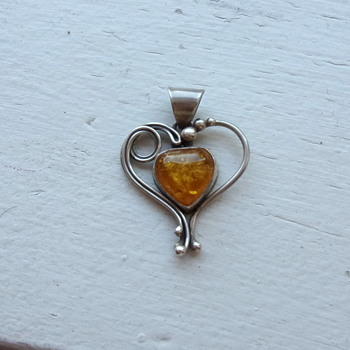 Amber and Sterling Heart Pendant - Silver