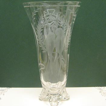Crystal Etched Tropical Bird Vase - Glassware