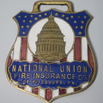 "National Union Fire Insurance ""Farm Dept"" Enamel Watch Fob - Pocket Watches"