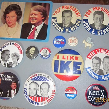 Political Buttons, Plus (Franklin Roosevelt to Bill Clinton) - Medals Pins and Badges