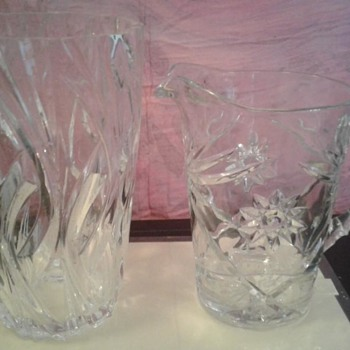 Etched glass vase and pitcher