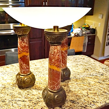 Large Marble/Brass Candleholders from a Church